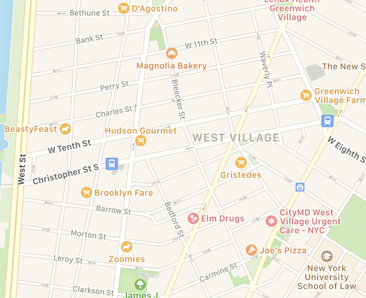 Source: Apple Maps. Like Amsterdam, the West Village has no apparent Central order. Streets intersect in bizarre ways. As a pedestrian, the narrow streets bend in unpredictable ways which lead to all kinds of serendipity.