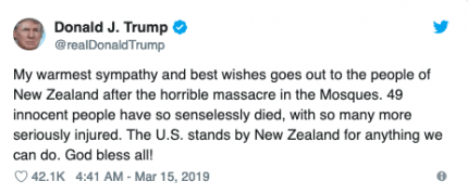 Donald trump tweets in resonse to New Zealand attack