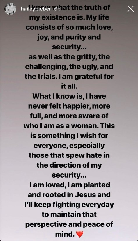Hailey Bieber's cryptic post