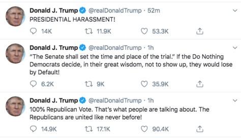Donald Trump impeachment reaction tweets