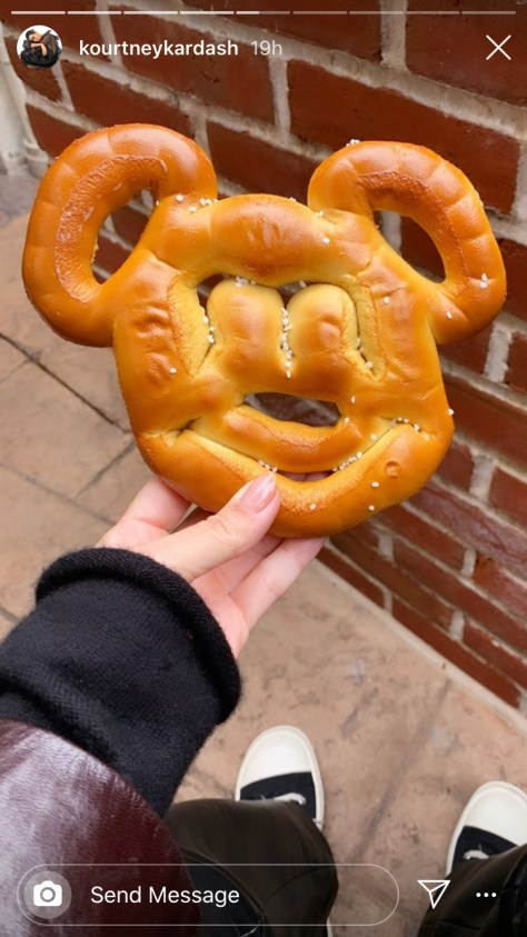 Kourtney Kardashian Mickey Mouse pretzel
