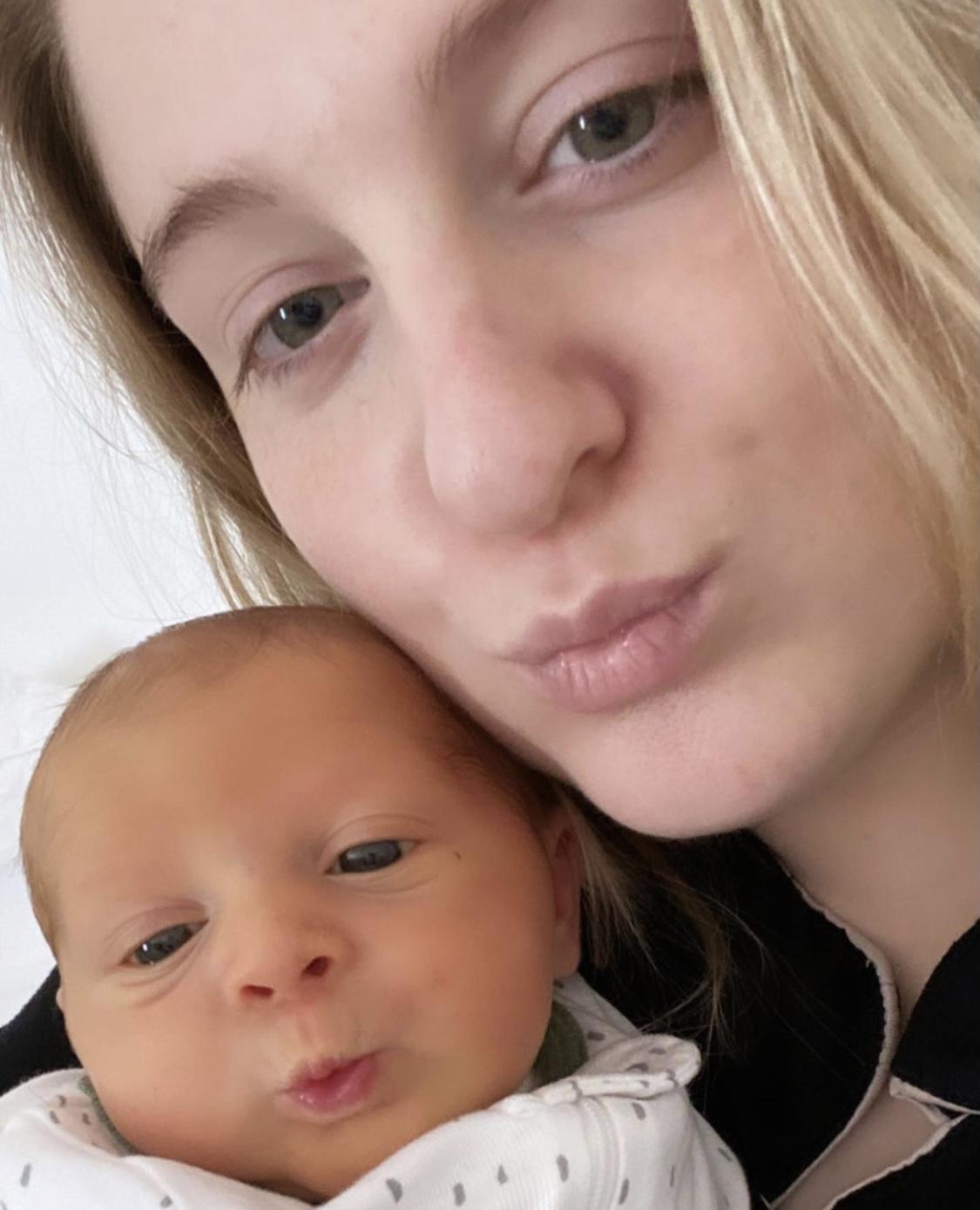 Meghan Trainor & Newborn Son Pose For ADORABLE Duckface Selfie