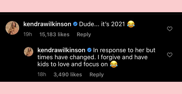 kendra wilkinson : instagram comments on Holly Madison