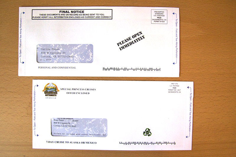 Direct Mail Check Package Example