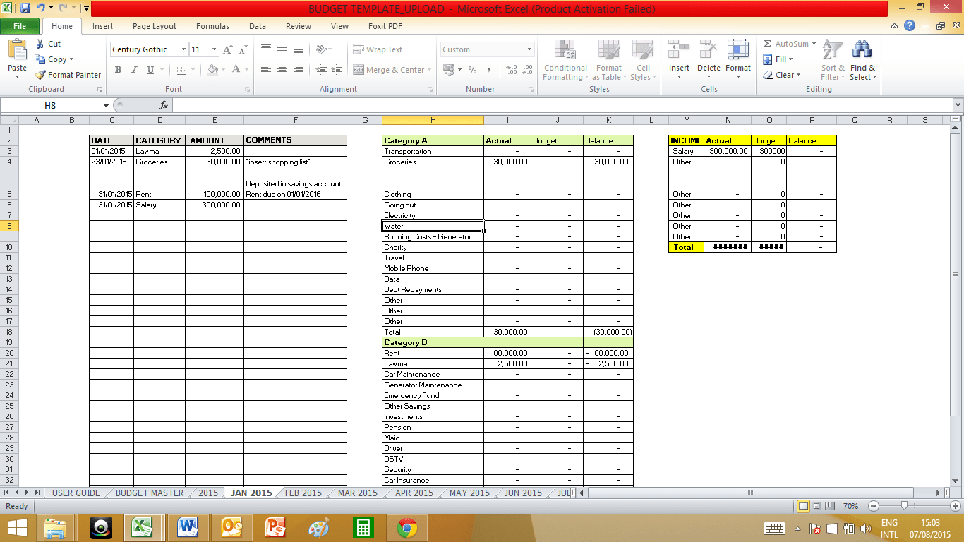 50 30 20 Budget Spreadsheet | Spreadsheets