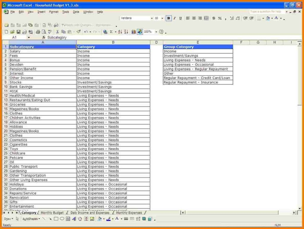 Excel Spreadsheet Template For Monthly Bills Spreadsheets