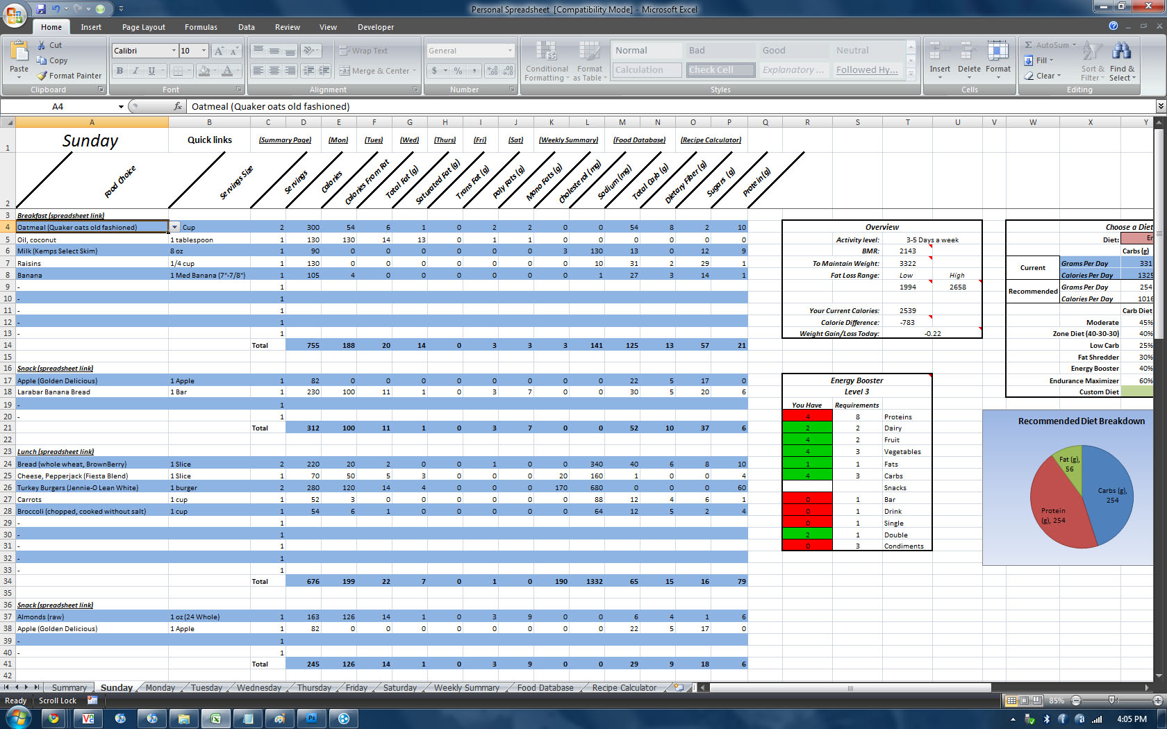 P90x Log Sheets Spreadsheets