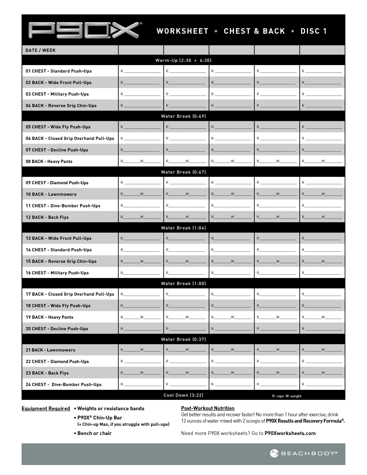 P90x Shoulders And Arms Spreadsheets