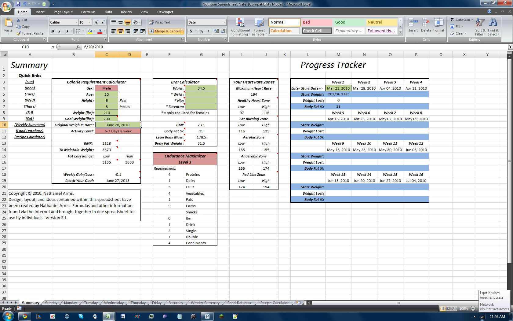 P90x Tracking Sheets Spreadsheets