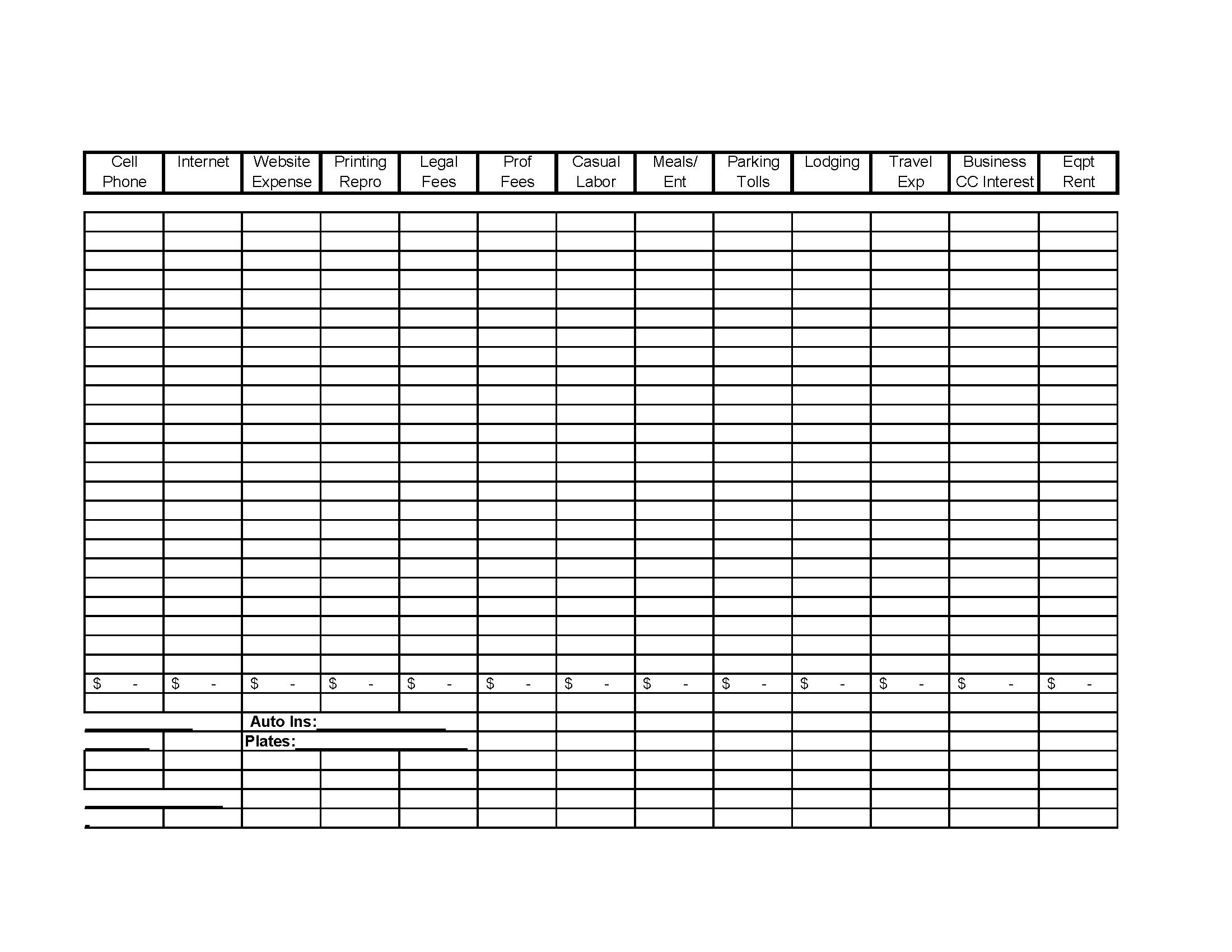 Business Yearly Expense Worksheet