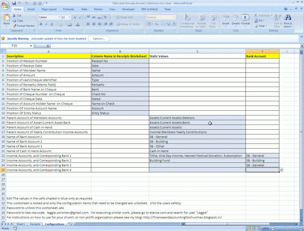Church Tithe And Offering Spreadsheet
