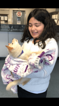 Mohammed's daughter holding puppy called Charming, at LAX China Airlines Cargo 2
