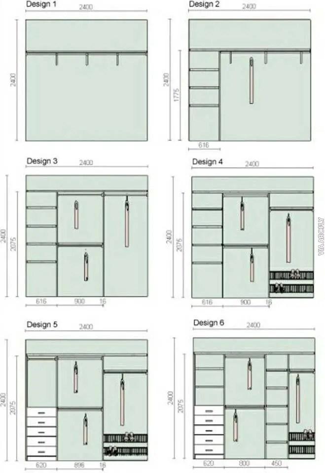 Conoce los planos para tener un closet a tu medida perfecto para tu habitacion  Ideas Perfectas