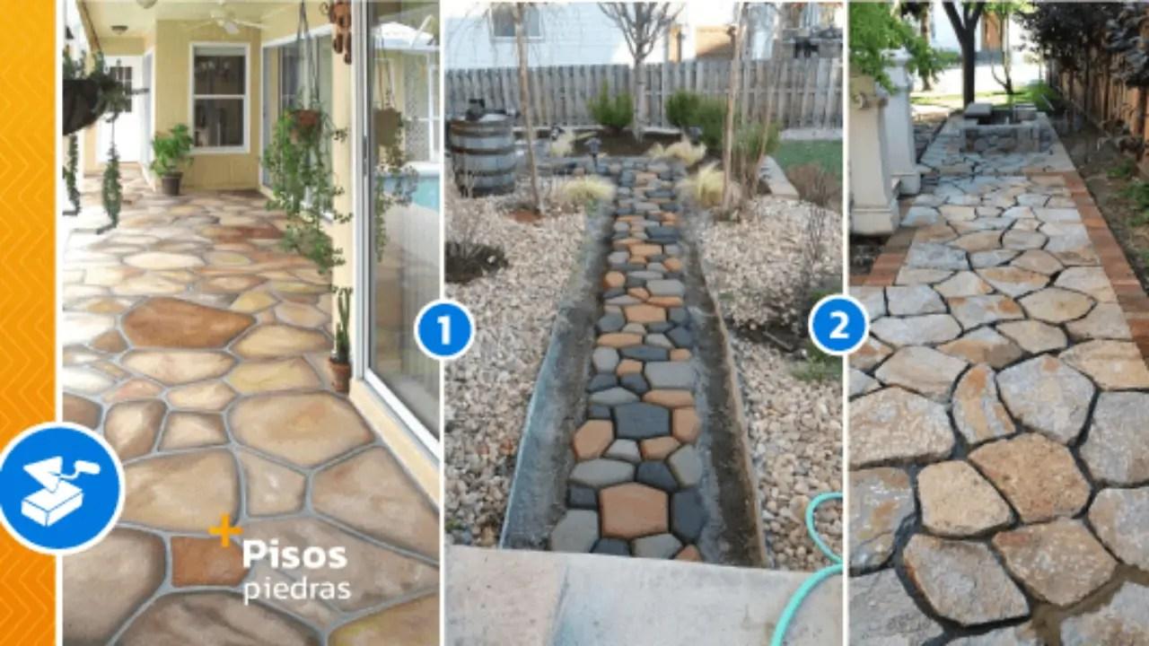 pisos y senderos de piedra para