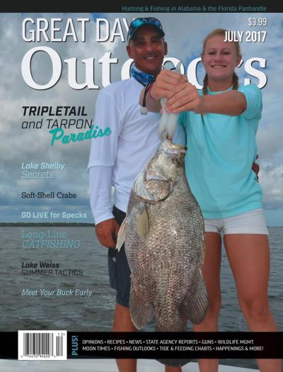 Capt Dan and daughter Taylor on Cover of Great days Outdoors Magazine
