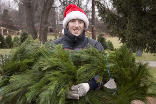 12-5-09           Alexander Curtis carries to wreaths at Perfect Christmas Tree Farm           photo by Cathy Miller