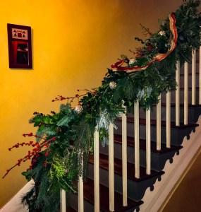 Christmas Garland Staircase side