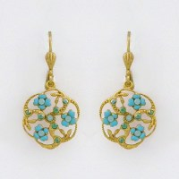 Catherine Popesco Jewelry | Round Floral Enamel Earrings, Blue