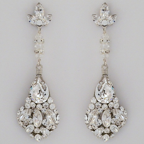 Large Teardrop Crystal Chandelier Earrings