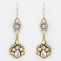 Haute Bride Earrings | Gold Long Drop Crystal Earrings