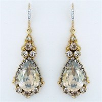 Haute Bride Jewelry | Champagne Teardrop Chandelier Earrings
