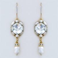 Haute Bride Jewelry | Crystal Bridal Earrings with Pearl Drop