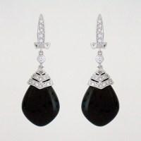 Black Evening Earrings | Black Onyx Drop Earrings with CZ ...