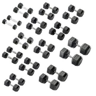 York Barbell Rubber Hex Dumbbells