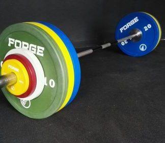 Forge Fitness 137.5kg Elite Coloured Bumper Plate and Bar Set - Ex Demo