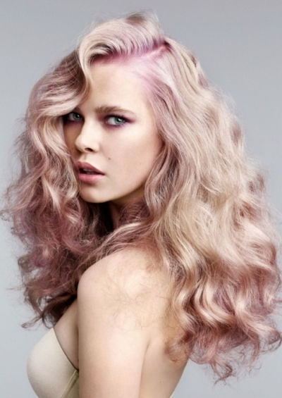 Voluminous Blonde & Pink Waves