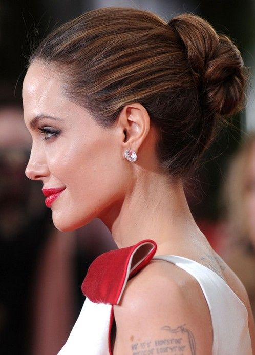 Angelina Jolie Simple Bun Hairstyle