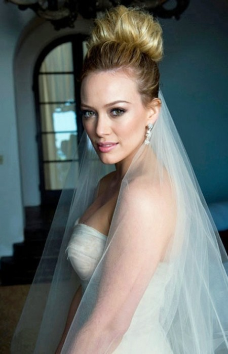 Hillary Duff Wedding High Top Knot Hairstyle