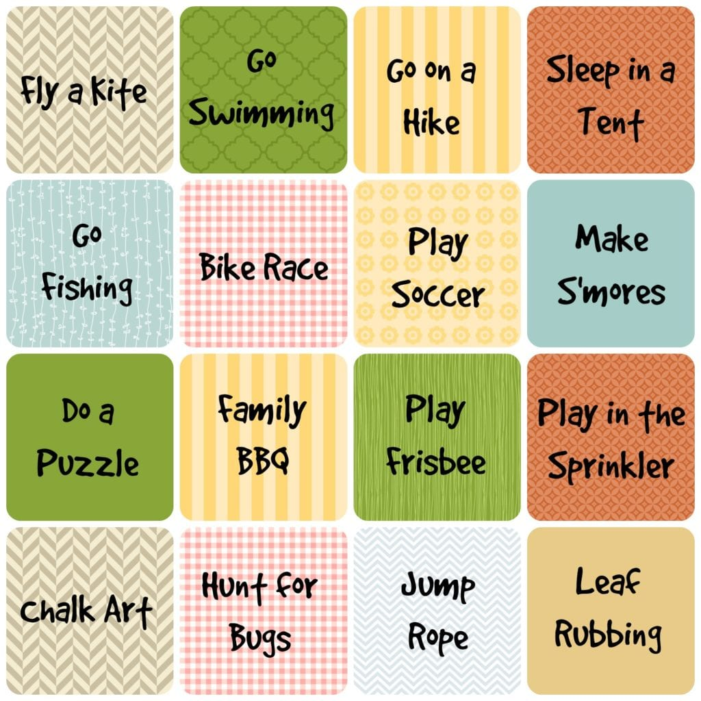 Summer Unplugged Activity Card Printables