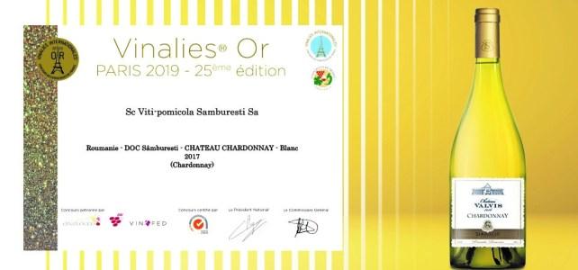 """Aur la Concursul """"Vinalies Internationales"""" de la Paris pentru Chateau Valvis Chardonnay"""