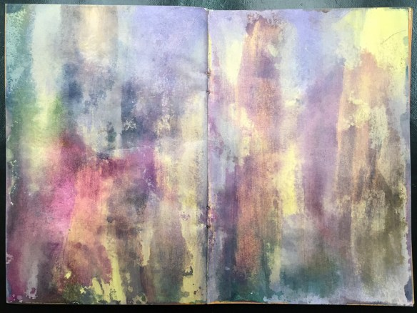 I started with an acrylic painted background already in my A5 journal.