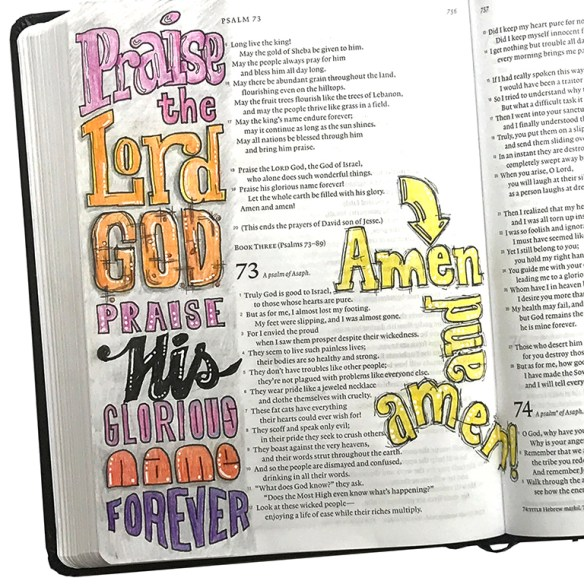 Psalm 72: 18-19 bible journaling