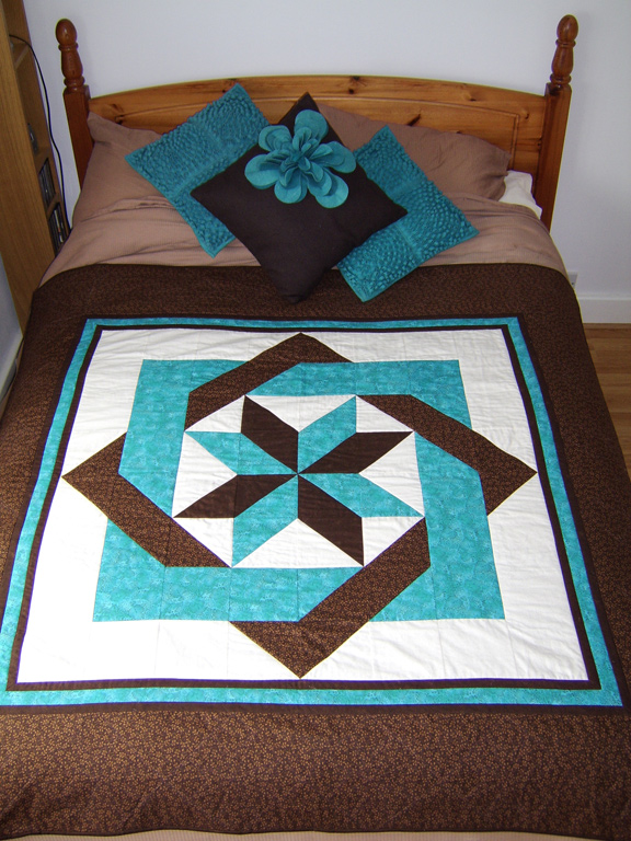 Chocolate Teal Puzzle Quilt Pattern Perfectly4med Artist At Work