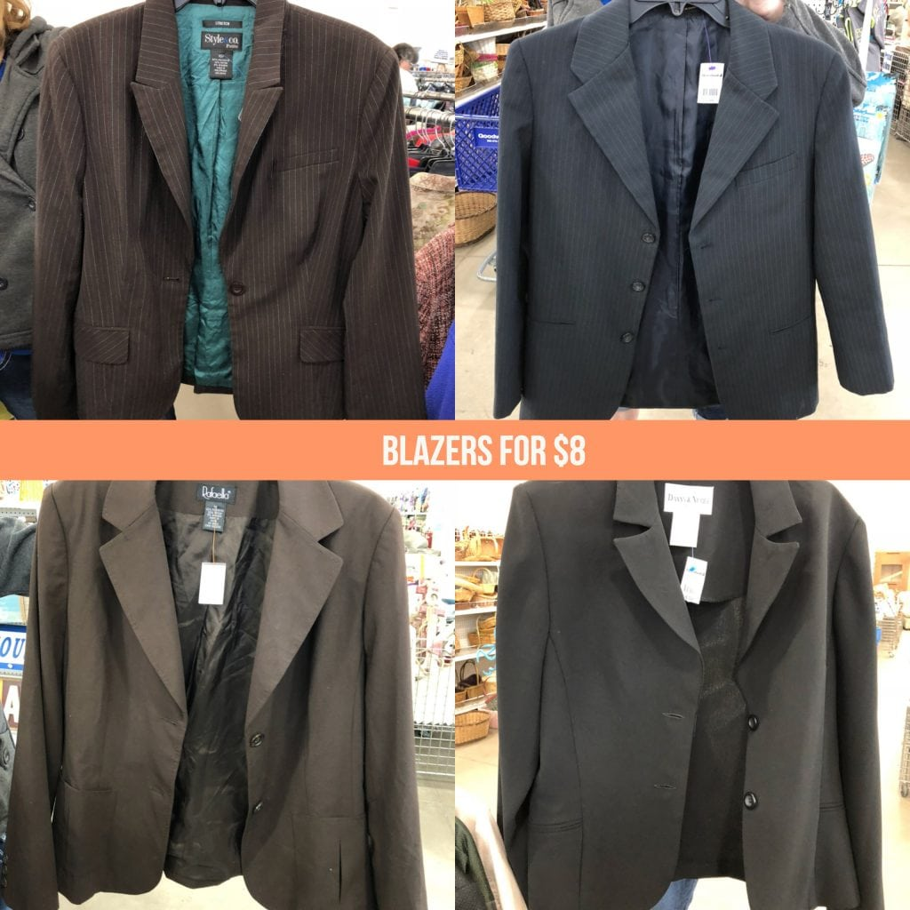 Cheap job interview outfit blazers at Goodwill for 7 dollars