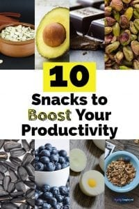 10 snacks to boost your productivity - save on pinterest