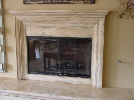 Fireplace plaster finish