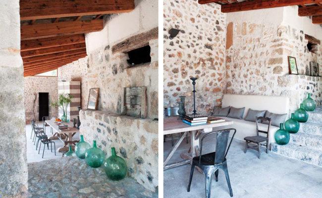 Demijohn bottles, rustic decor, antique style, antique decor, french decor, vintage bottles, vintage bottle decor, bottles on steps