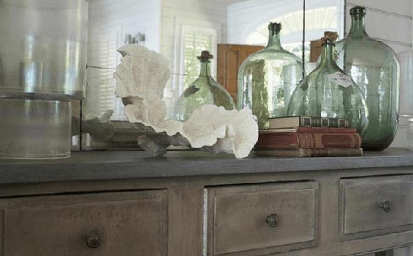 Demijohn decor, vintage bottles, coastal interior, casual decor, coastal decor, vintage decor