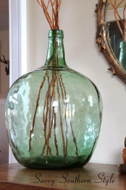 Demijohn decor, Demijohns, How to use demijohn, antique glassware, decorating, coastal decor