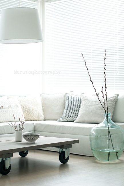 Demijohn decor, vintage decor, coastal casual, calm color interior, using calm colors