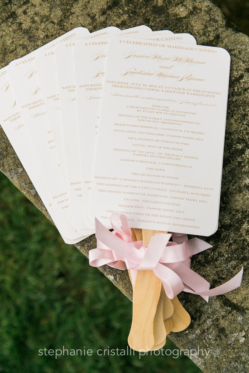 Thornewood Castle Wedding in Seattle   Blush ceremony program fans   Perfectly Posh Events, Seattle Wedding Planner   Stephanie Cristalli Photography