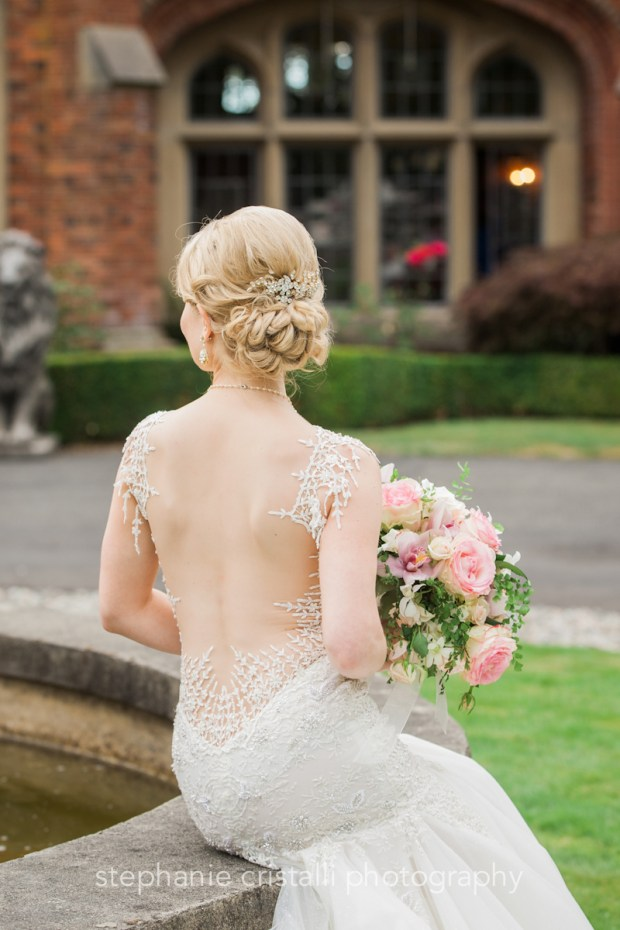 Thornewood Castle Wedding in Seattle | Gorgeous backless bridal gown | Perfectly Posh Events, Seattle Wedding Planner | Stephanie Cristalli Photography | Aria Style