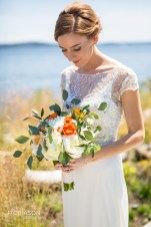Seattle Tennis Club wedding in Seattle | Seattle bride with white and orange bouquet with greenery | Perfectly Posh Events, Seattle Wedding Planner | JTobiason Photography | Sublime Stems