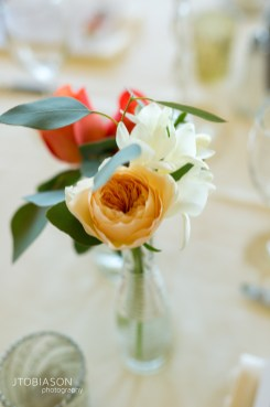 Seattle Tennis Club wedding in Seattle |Orange and white flower centerpieces with greenery in glass vase | Perfectly Posh Events, Seattle Wedding Planner | JTobiason Photography | Sublime Stems