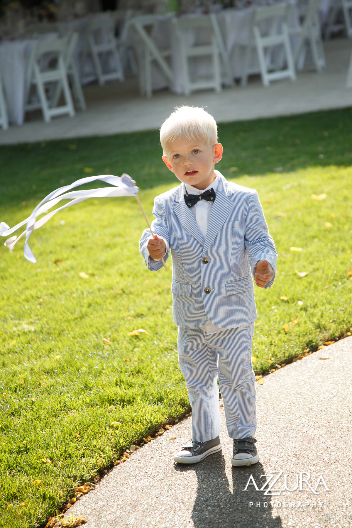 Laurel Creek Manor Wedding in Seattle | Ring bearer with ceremony ribbon wand | Perfectly Posh Events, Seattle Wedding Planner | Azzura Photography