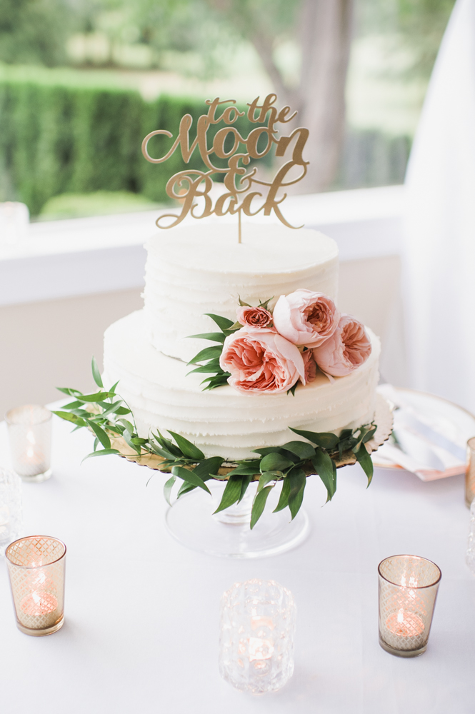 """Glen Acres Golf Club wedding in Seattle   Romantic wedding cake with """"To the Moon & Back"""" topper   Perfectly Posh Events, Seattle Wedding Planner   Barrie Anne Photography   Butter & Bloom"""